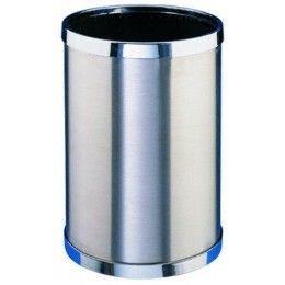Papelera de acero inoxidable con aros cromados y con una capacidad de 10 Litros. http://www.ilvo.es/es/product/papelera-inox---10-litros