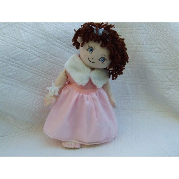 "Cuddly 18"" Rag Doll In Pink & White Prom Dress"