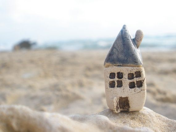 A  tiny rustic ceramic beach cottage in a color of your choice - Ceramic miniature houses Home decoration Collection  Spring Little house  $14