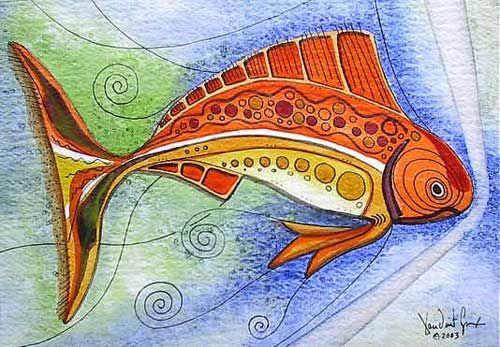 Fish art, fish paintings, and original fine art, Jason Vincent Scarpace И вообще я рисую сейчас таких рыб в ванной на белом кафеле :) Ну не совсем таких, скорее эти взяты за основу...