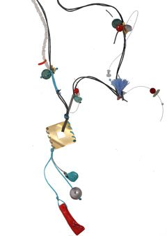 Handmade silver necklace made of small crystals braided with cords and decorated with gold plated bronze pendant 28x28mm, turquoise, crystals, corals, agates, fresh water pearls and Swarovski crystals - Χειροποίητο κολιέ φτιαγμένο από ασήμι 925ο με ψιλά κρύσταλλα δεμένα με κορδόνια και διακοσμημένο με τετράγωνο μενταγιόν 28x28mm από επιχρυσωμένο μπρούντζο.Το κολιέ στολίζουν αχάτες, μαργαριτάρια, τυρκουάζ, κοράλια, ορυκτοί κρύσταλλοι και κρύσταλλα Swarovski