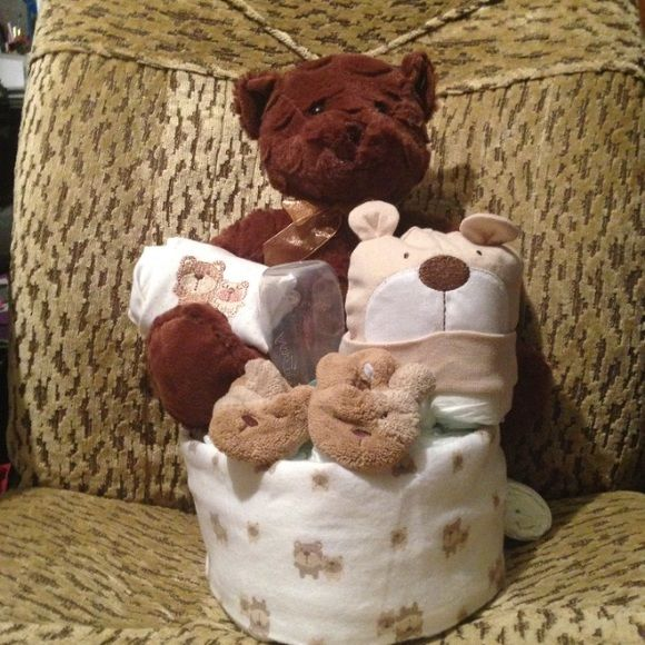 Teddy bear diaper cake Not just for baby showers great gift anytime Brown teddy…