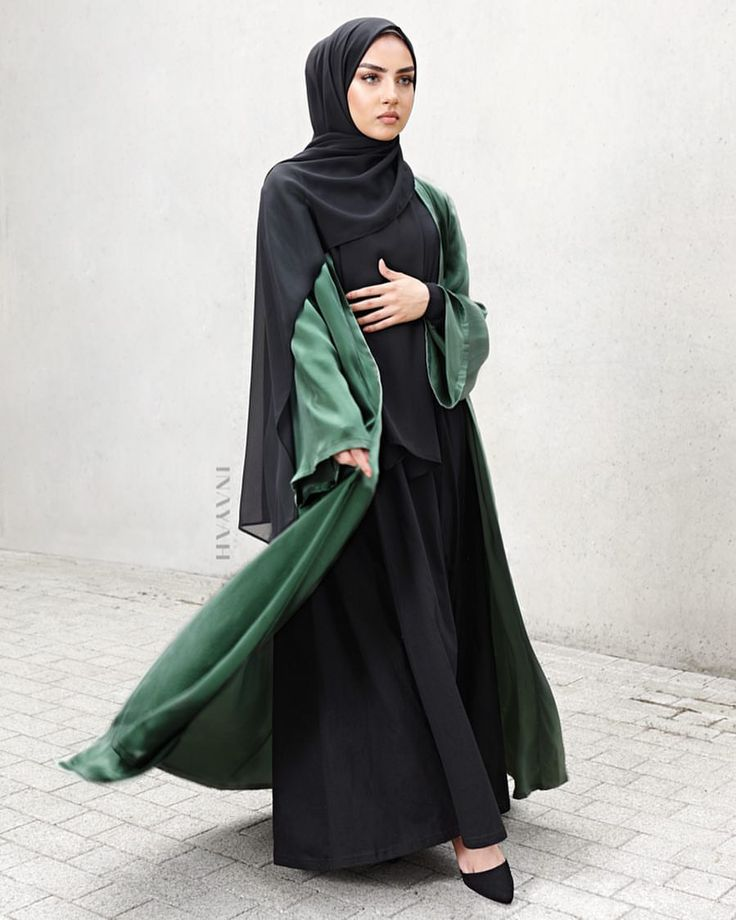 INAYAH | We use the highest quality of fabrics to ensure you look and feel fashionable; modest occasion wear to suit all your styling needs. Green Silk Satin #Kimono + Black Tailored Flare #Abaya + Black Soft Crepe #Hijab www.inayah.co