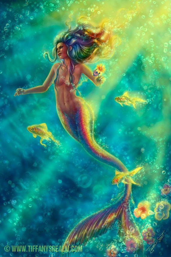 12x18 Forbidden Desire  siren mermaid fantasy by TiffanysRealm, $23.99