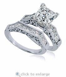 The Pescara 1.5 Carat Princess Cut Cubic Zirconia Channel Set Engraved Wedding Set features a 1.5 carat 7x7mm prong set princess cut square cubic zirconia followed by for additional princess cut squares channel set on each side. #ziamond #cubiczirconia #engagement #ring #weddingset #14kgold #platinum
