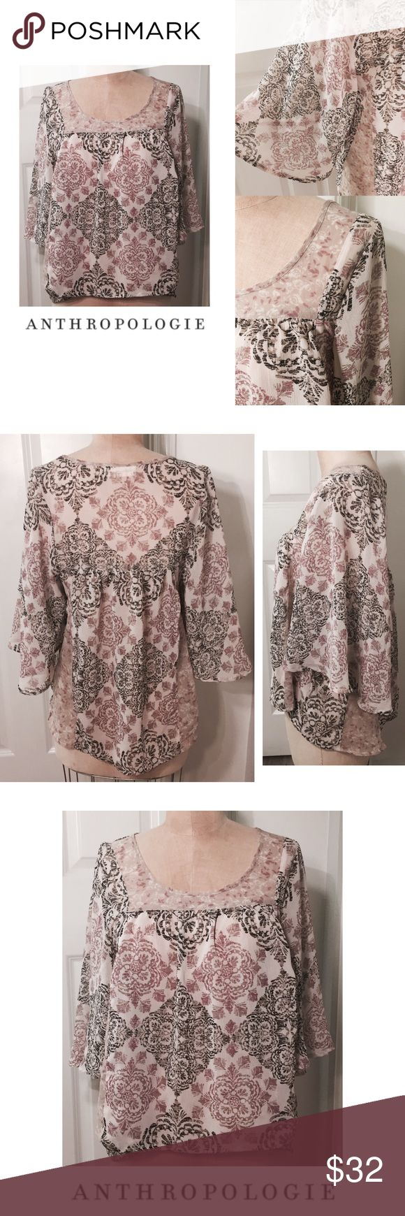 """ANTHROPOLOGIE flowing blouse, with bell sleeves ANTHROPOLOGIE flowing blouse, with bell sleeves, loose fit, approx 25"""" long and 18"""" across laying flat, great condition, by staring at stars.  99308 Anthropologie Tops Blouses"""