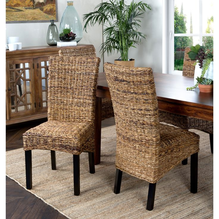 This abaca dining chair gives your house a more homey feel. Upholstered in abaca, this chair looks inviting while providing a comfortable seat for those gathered around your dining table. The browns and tans will match almost any wood table.