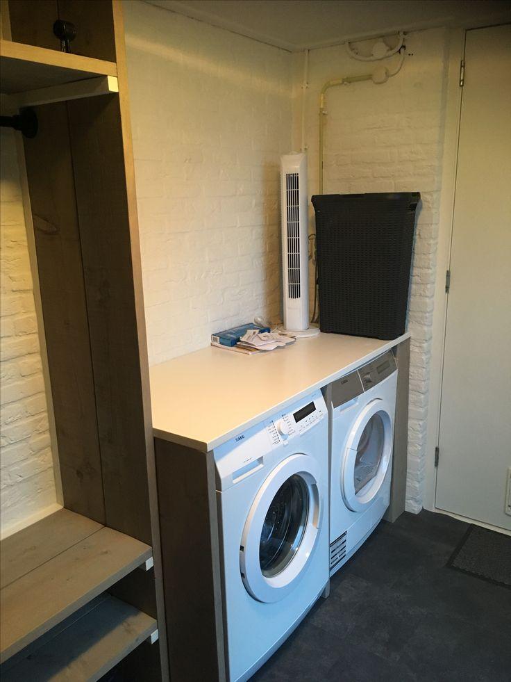 Ombouw wasmachine / droger #steigerhout #greywash #bijkeuken #project