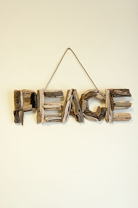Peace Natural Driftwood Wall Art