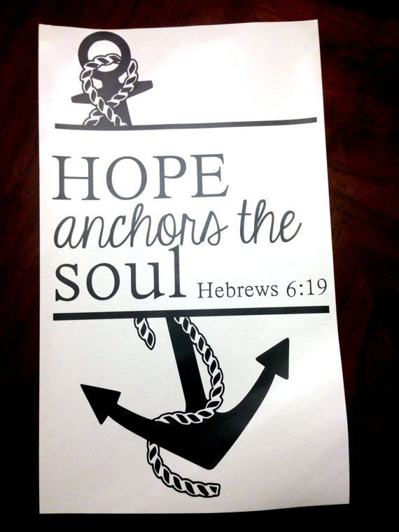 Anchor Wall Vinyl Decal with 'Hope Anchors The Soul' Hebrews 6:19' Bible Quote