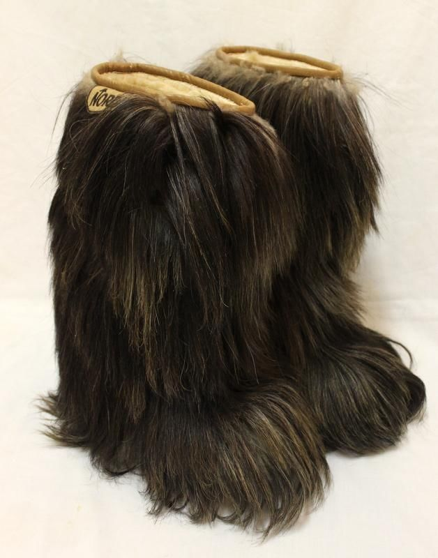 Vintage Nordica Brown Goat Fur Apres Yeti Boots Italy
