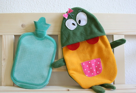 Hot water bottle cover Betty by HappyMonstersLand on Etsy, $25.00