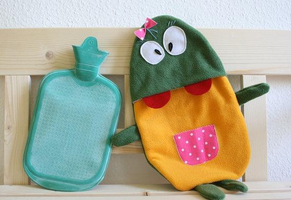 Hot water bottle cover Betty by HappyMonstersLand on Etsy, $25.00