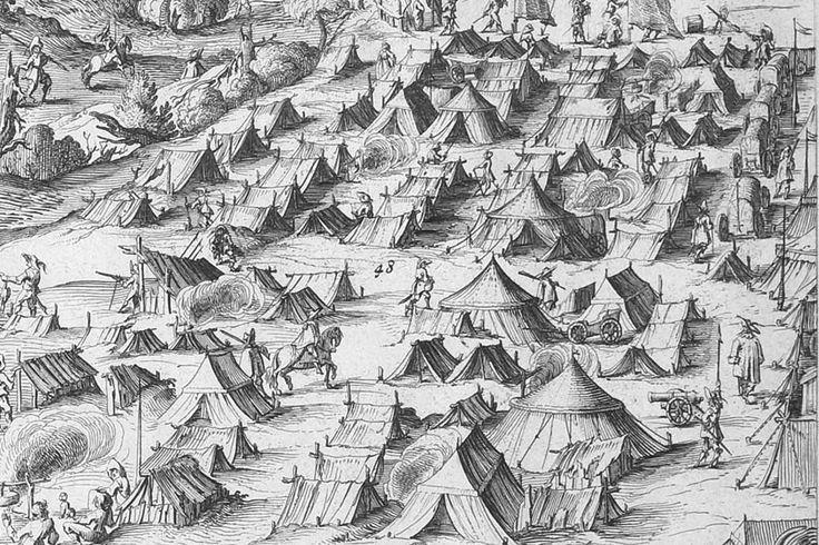 """""""Odsiecz Smoleńska 1634 r. Ryciny S. Savery wg rysunku A.Boya. Namioty obozu polskiego."""""""