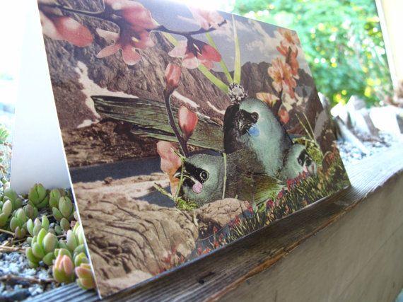 Collage Print Greeting Card Bluebird Bay by Amanda by ArtFarmEtsy, $5.60