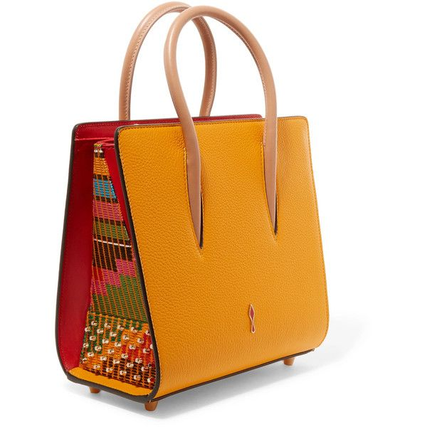 Christian Louboutin Paloma small studded embroidered textured-leather... ($1,655) ❤ liked on Polyvore featuring bags, handbags, tote bags, studded tote, tote purses, mustard yellow purse, tote handbags and embroidery tote bags