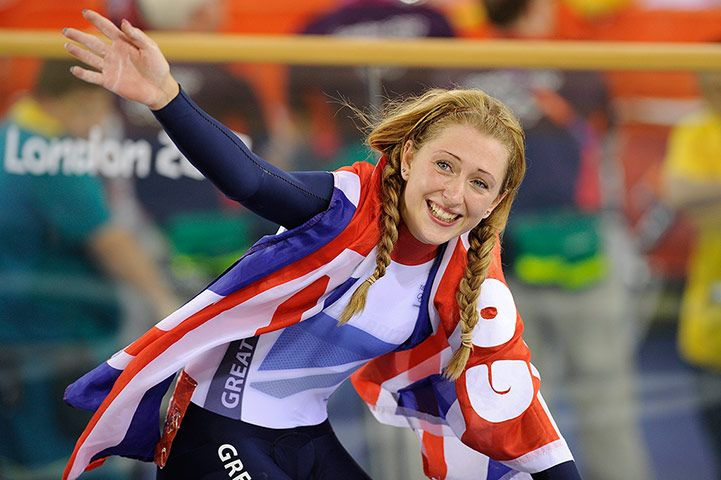 Laura Trott celebrates winning the gold medal in the women's omnium, her second gold medal of the Games
