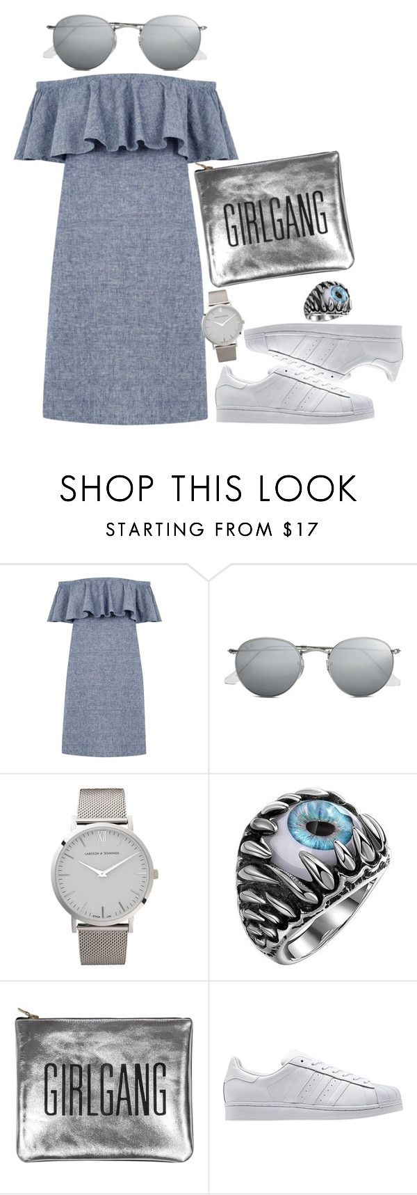 """""""Outfit #499"""" by karlita-grace on Polyvore featuring Warehouse, Ray-Ban, Larsson & Jennings, Sarah Baily y adidas Originals"""