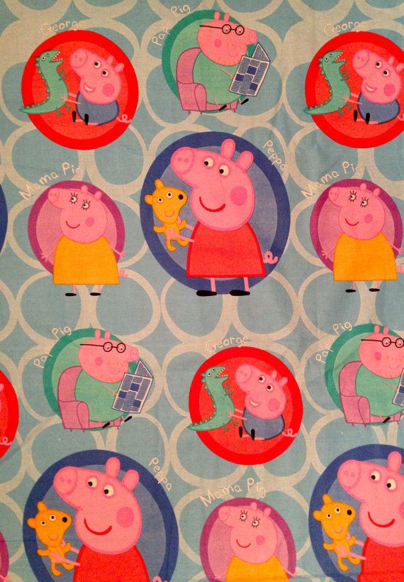 peppa pig kids school alphabets pink polycotton fabric different sizes available pig family. Black Bedroom Furniture Sets. Home Design Ideas