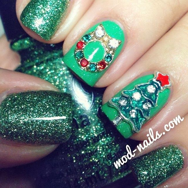 186 best nail art christmas images on pinterest nail stamping modnails 3d christmas tree and wreath used china glazes this is tree prinsesfo Image collections