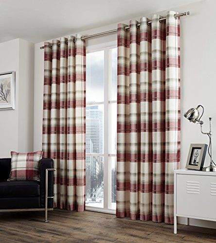 One Pair Of Balmoral Check Eyelet Header Curtains In Ruby