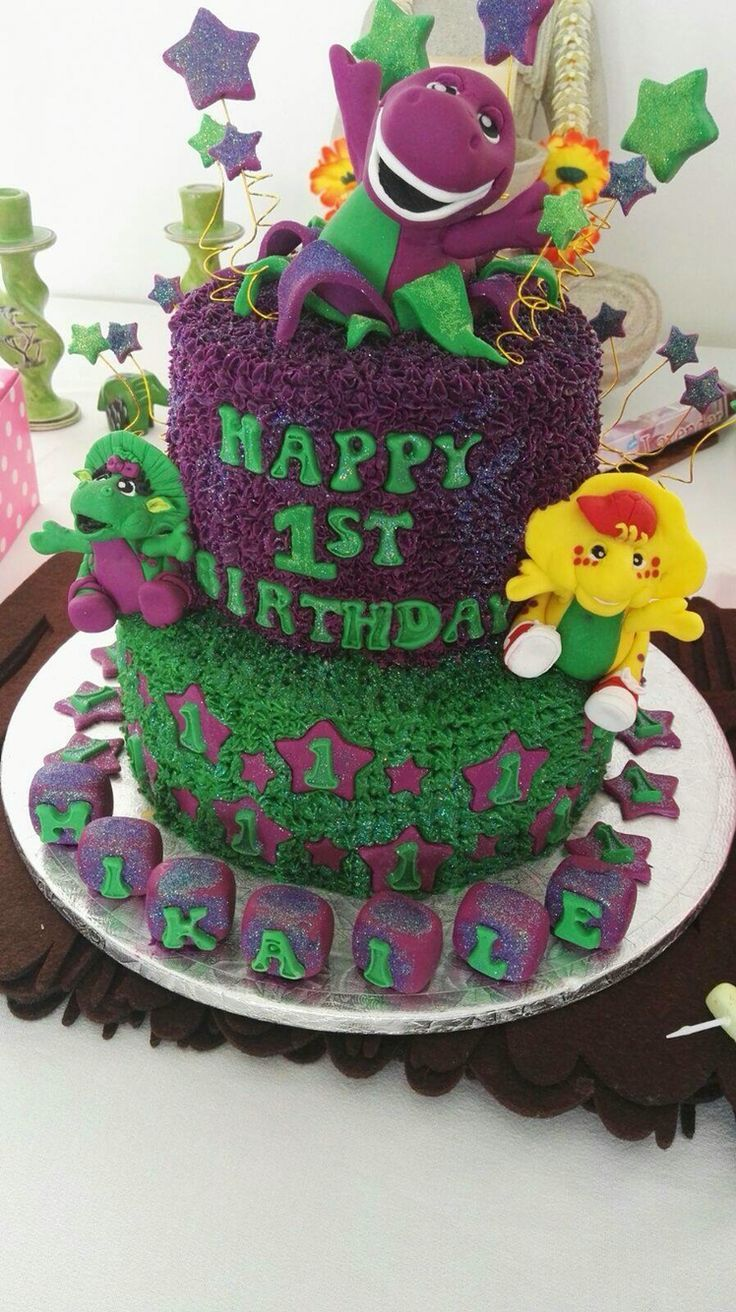 17 Best Ideas About Barney Birthday Cake On Pinterest