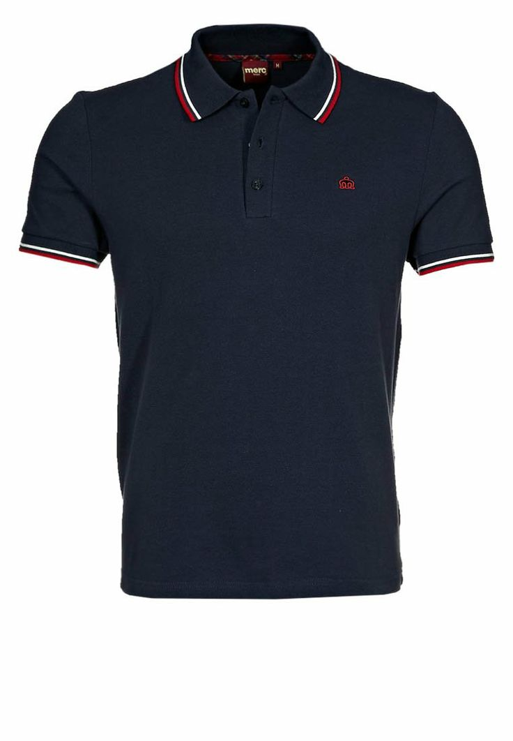 Merc - CARD TWIN TIPPED POLO SHIRT - Poloshirt - navy/b.red