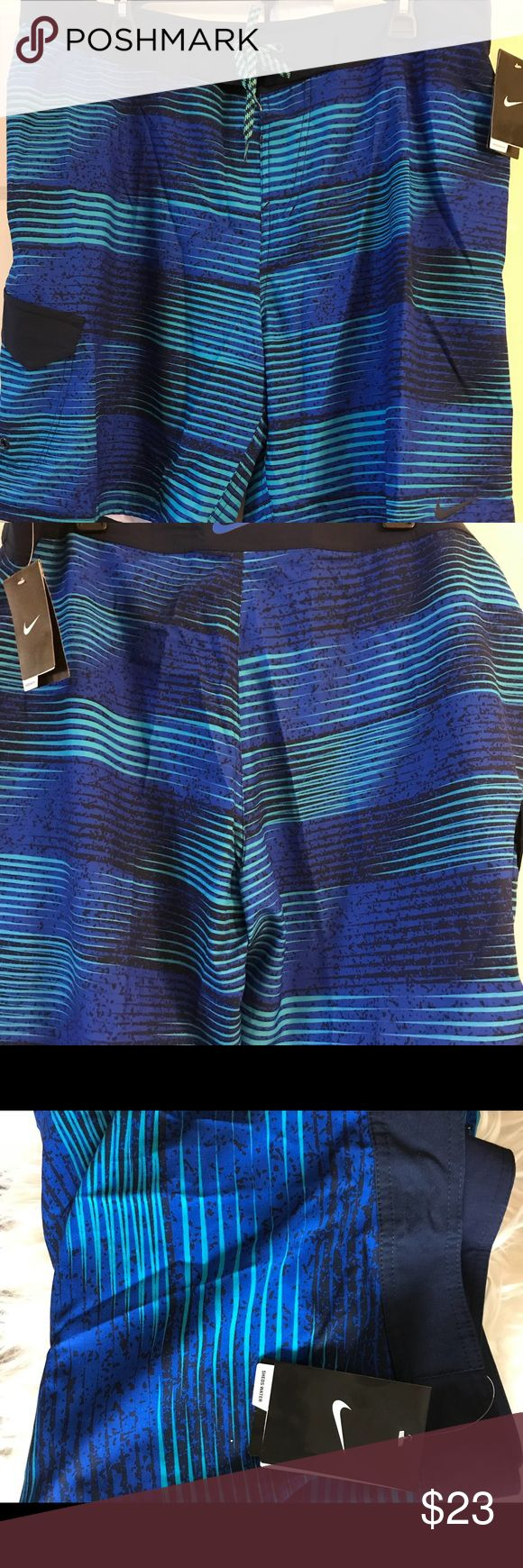 Nike Swimming shorts There is one side pocket with snapper. They are treated with Hydra Void to shed water and keep you dry. Nike Swim Board Shorts