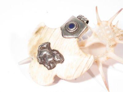 Pendente in argento, conchiglia fossile e lapislazzuli-Gioielli Etnici-Atlantide