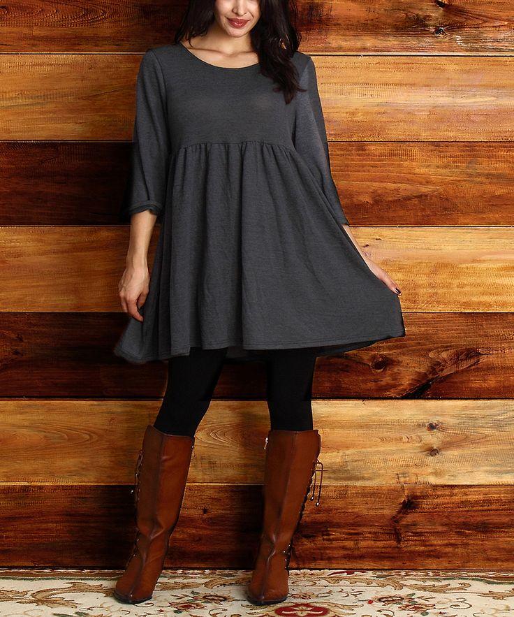 Reborn Collection Charcoal Empire-Waist Dress - Plus | zulily