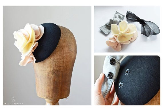 One Purchase - 3 in1 Mini Hat - Choice of 3 Looks - Interchangeable Trimming - Wool Felt Fascinator - Cocktail Pillbox Hat - Perfect Gift by EllaGajewskaHATS