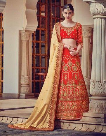 #Bridal #Lehenga #Saree In #Red Color