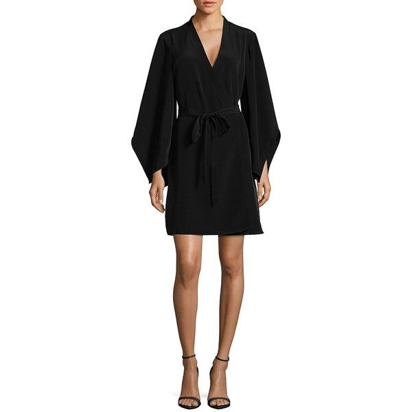 c1c2719ff3 H Halston Women's Kimono Wrap Dress ($139) ❤ liked on Polyvore featuring  dresses, black, cross over dress, kimono dress, long kimono, lined dress  and ...
