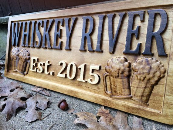 Personalized Bar Sign Carved Wood Sign Custom Wood by 3Dwoodworker