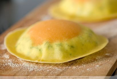 Egg Yolk Ravioli with Herbed Ricotta. I want to eat this. Now.