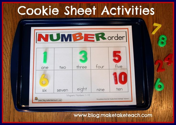 A cookie sheet and magnetic letters make for a fun center activity. Free sample templates for your cookie sheet.