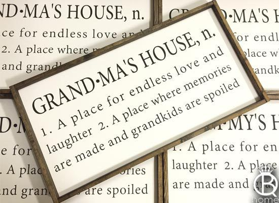 QueenBHome - Grandma's House Framed Wood Sign, $75.00 (http://queenbhome.com/grandmas-house-framed-wood-sign/)
