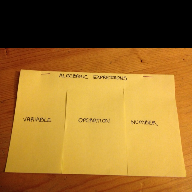 Algebraic expressions foldable.  Students can fill in examples of variables (x, n, t), operations (+, -, •), and numbers.