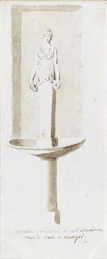 Dessin de la fontaine de la salle à manger du château de Malmaison