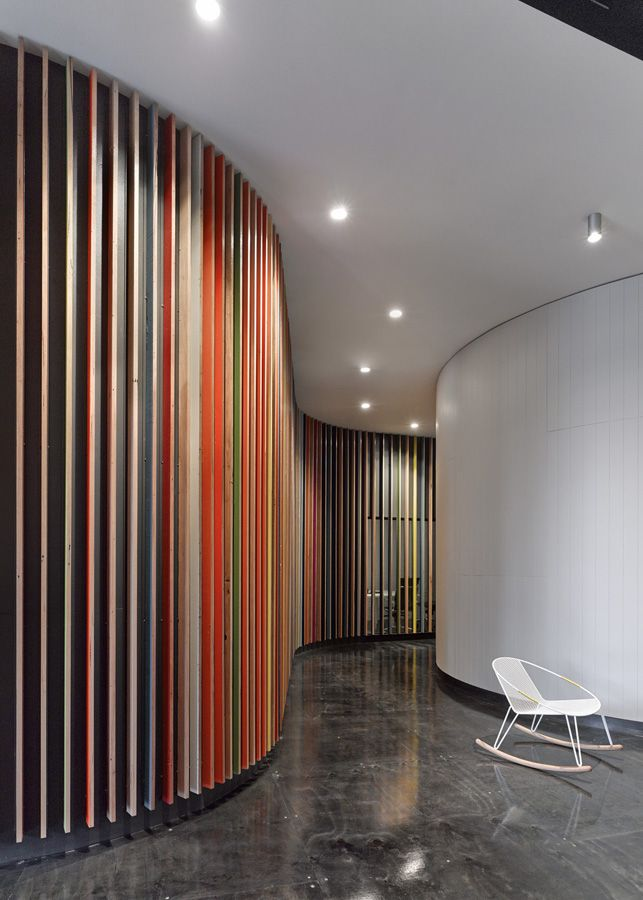 JWT presentation space : MAKE architecture   Coloured Timber Slat Walls