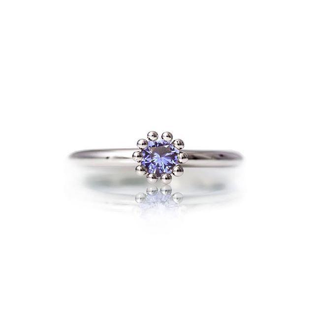 """Single blue sapphire in whitegold """"Pisara"""" ring. #ring #sapphire #madeinhelsinki #sormus"""
