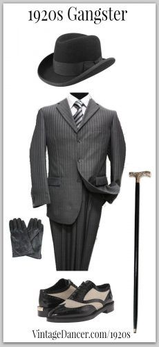 1920s Gangster look - Black homburg hat, dark grey striped suit, two tone shoes, leather gloves and a walking cane (or is it a weapon?) Get these at VintageDancer.com/1920s