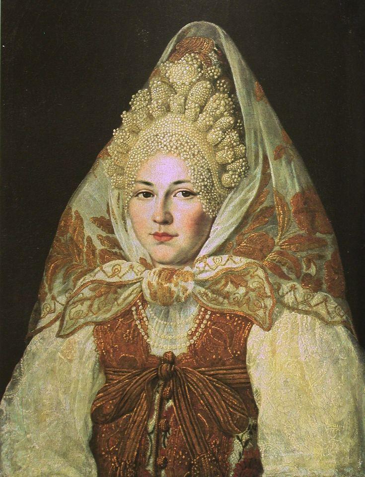 Портрет женщины в костюме XVIII века. Торопецкий уезд. Неизвестный художник.