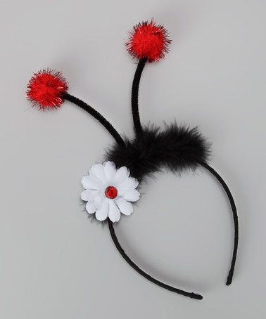 Use Savanna's Black Headband with Loop- Add her Red & Black Polka Dot Bow (where daisy is) - Bye-Bye Maribou - Add Swirly Pipe Cleaners & Fuzzy PomPoms...