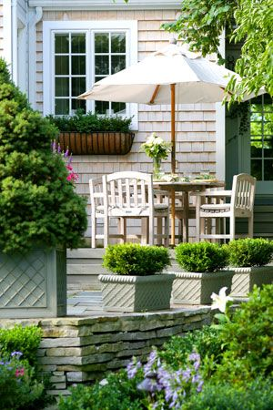 White patioOutdoor Living, Home Exterior, Pots Boxwood, Windows Boxes, Bing Image, Decks Patios, Planters Boxes, Outdoor Spaces, Nantucket Style