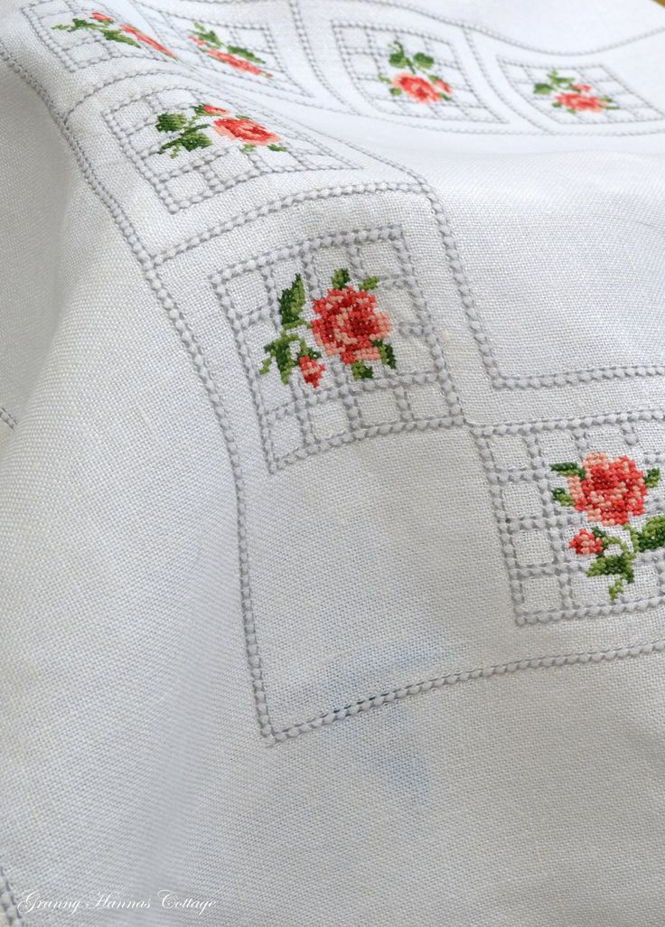 Linen tablecloth cross stitch embroidery by GrannyHannasCottage