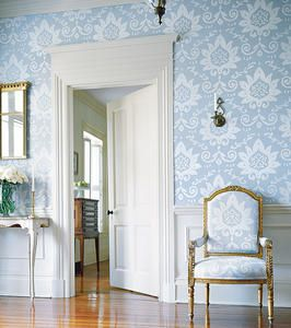Contemporary wallpaper with a traditional pattern and a gorgeous, huge wainscoting.