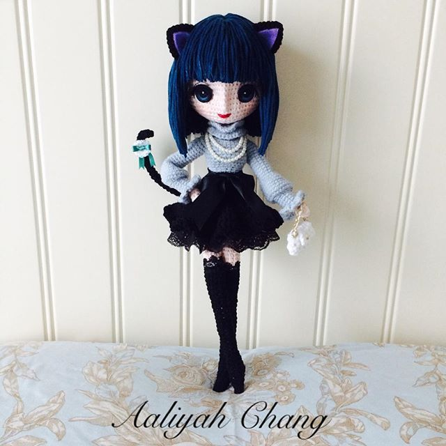 Amigurumi cat girl doll by Aaliyah Chang. (Inspiration).