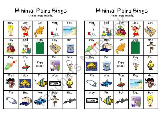 Minimal Pairs Bingo From Ms Jocelyn Speech On