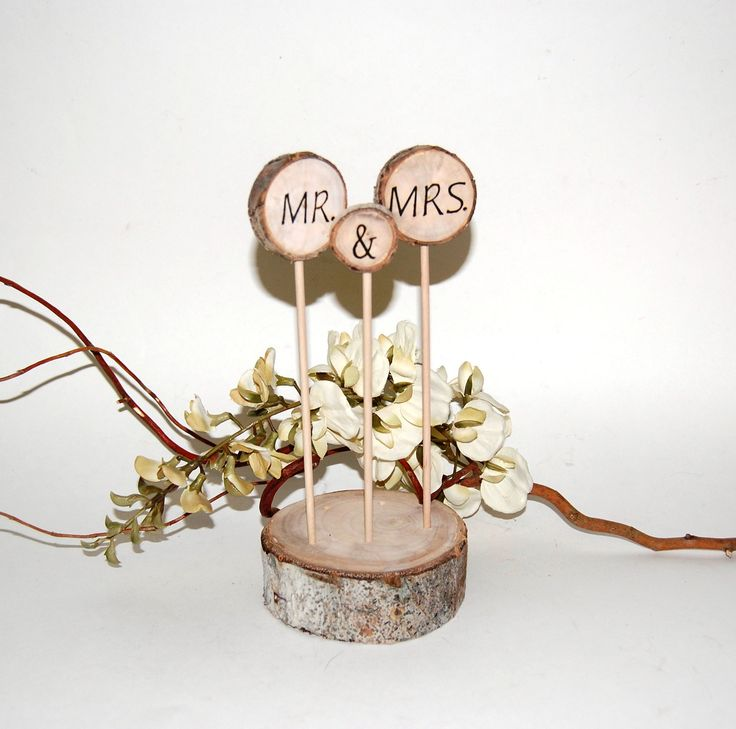Rustic Cake Topper - Aspen CAKE Decoration - MR. & MRS.  - Rustic Wedding - Personalized -  Made To Order - Eco Wedding